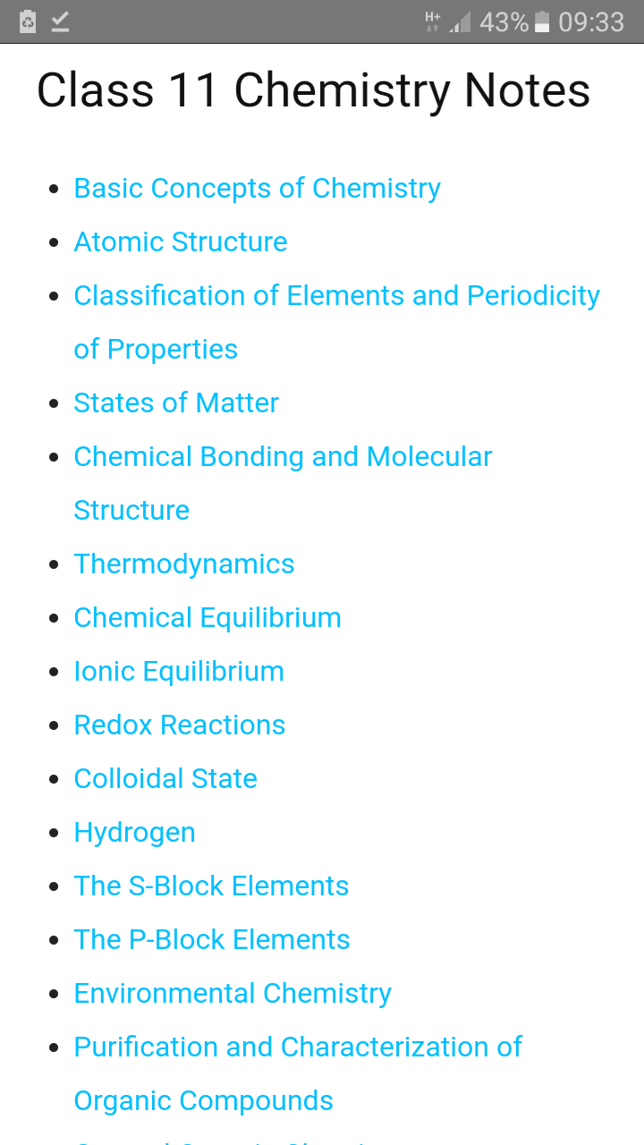 Class 11 Chemistry NCERT Notes Android App - Download Class